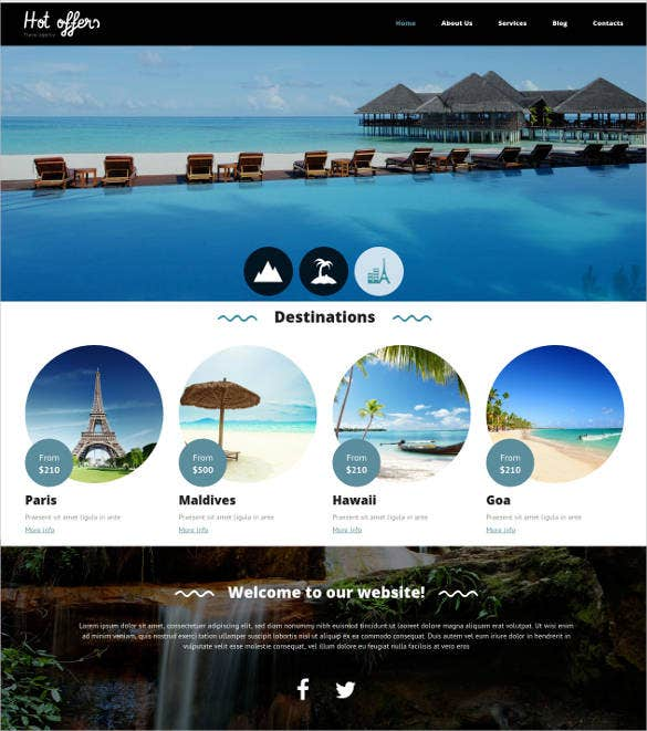 travel agency drupal website template psd