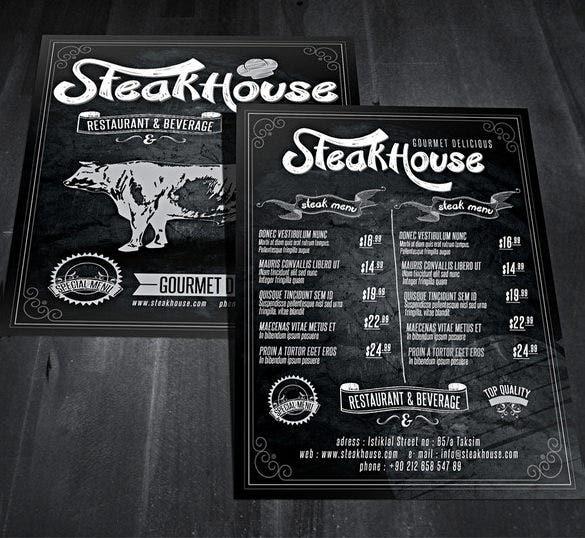 vintage style restaurant psd flyer design