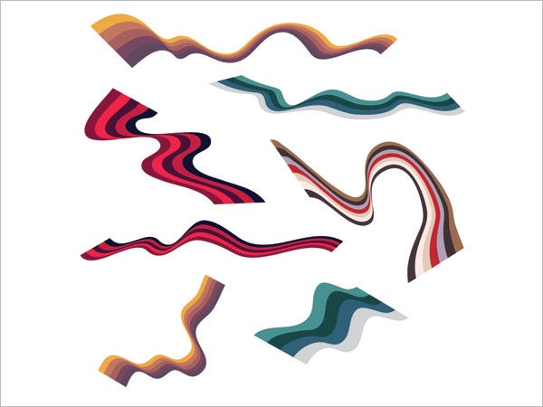 wavy vector ribbons