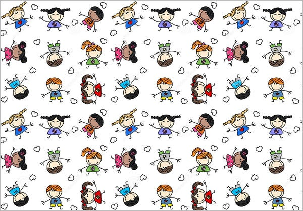 eamless pattern mixed children vector