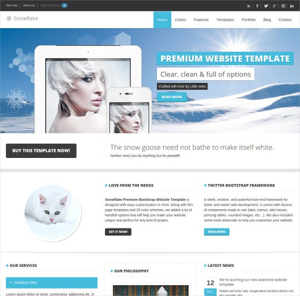snowflake responsive bootstrap website template