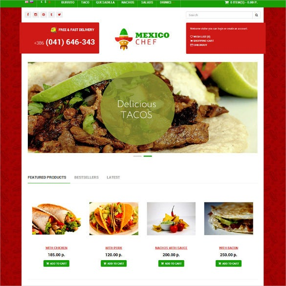 chef delivery opencart responsive bootstrap template