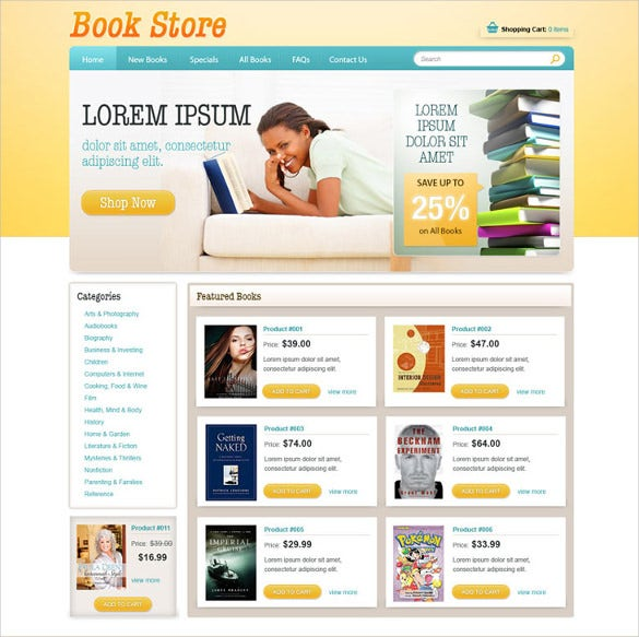 book online store website template