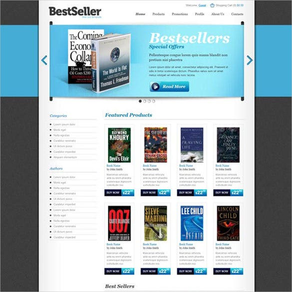free book store ecommerce website template