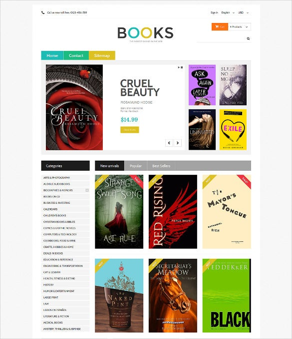 online bookstall prestashop website theme