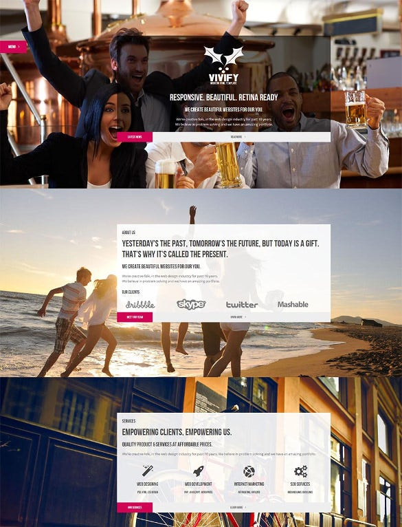 creative one page parallax css3 website template
