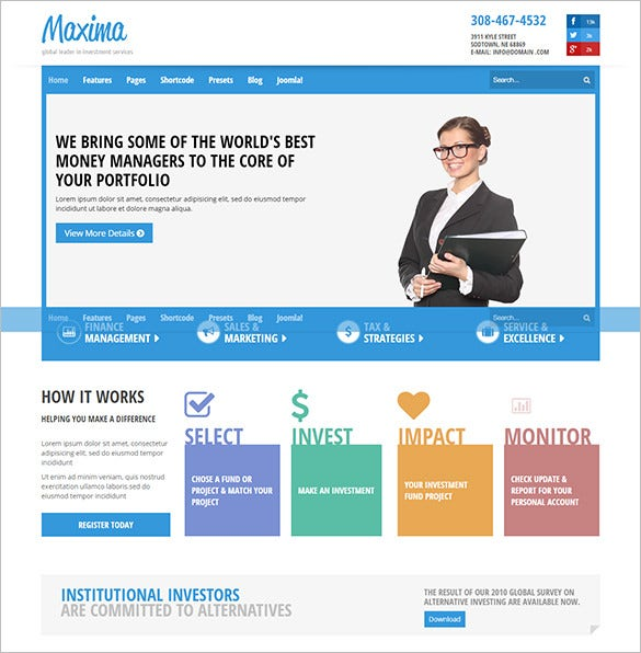 free premium shaper maxima business joomla template