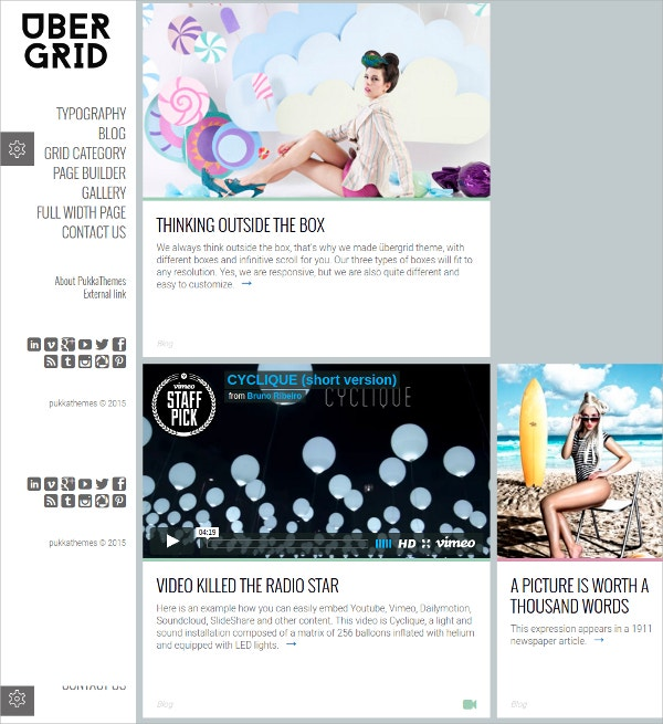 Responsive Grid WordPress Website Theme $49