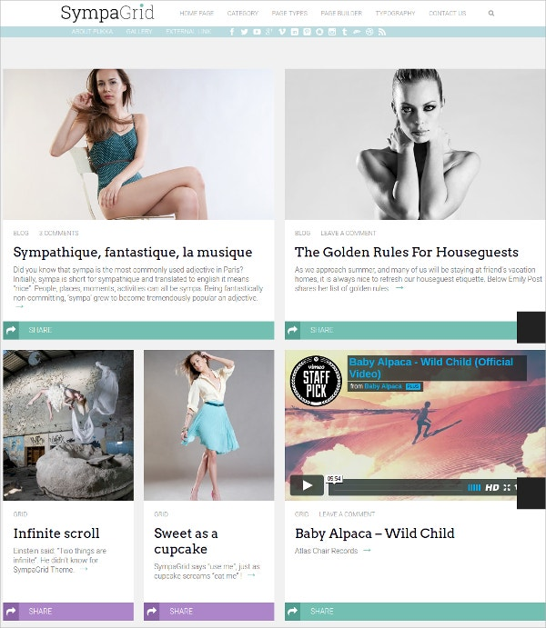 Responsive Fashion Grid WordPress Theme $49