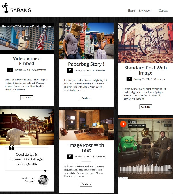 Grid Blog WordPress Website Theme $39