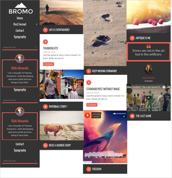 Responsive Grid Blog Website Theme $39