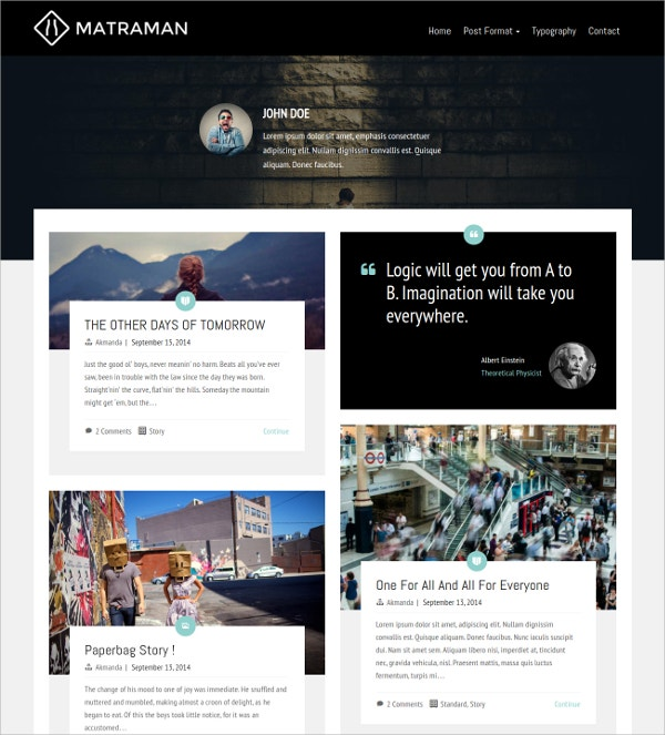 Personal Grid Blog Website Theme $39