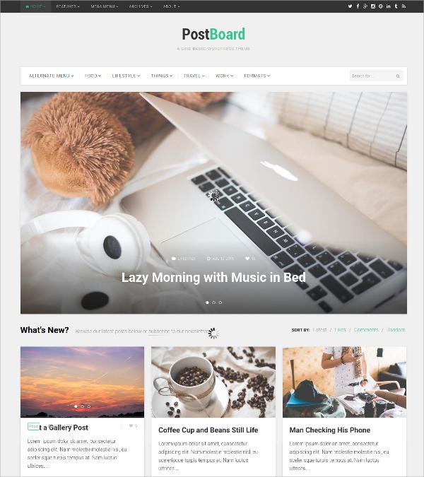 Grid Based WordPress Website Theme $49