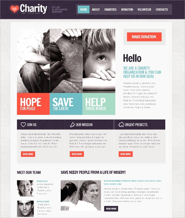 Child Charity Mission Website Template $64