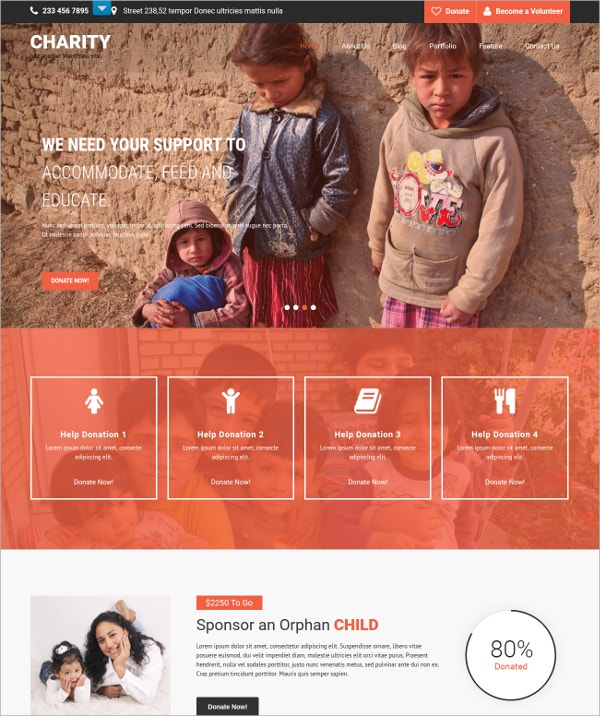 Charity Responsive Website Theme $48