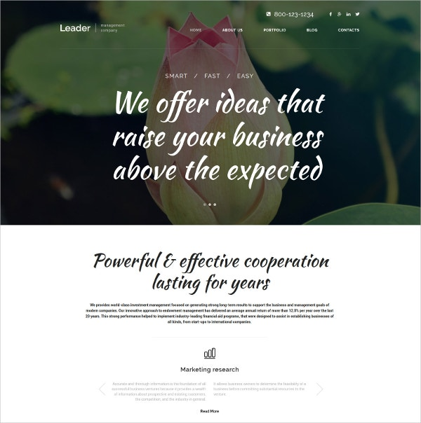 Leader & Business Ideas WordPress Portfolio Theme $75