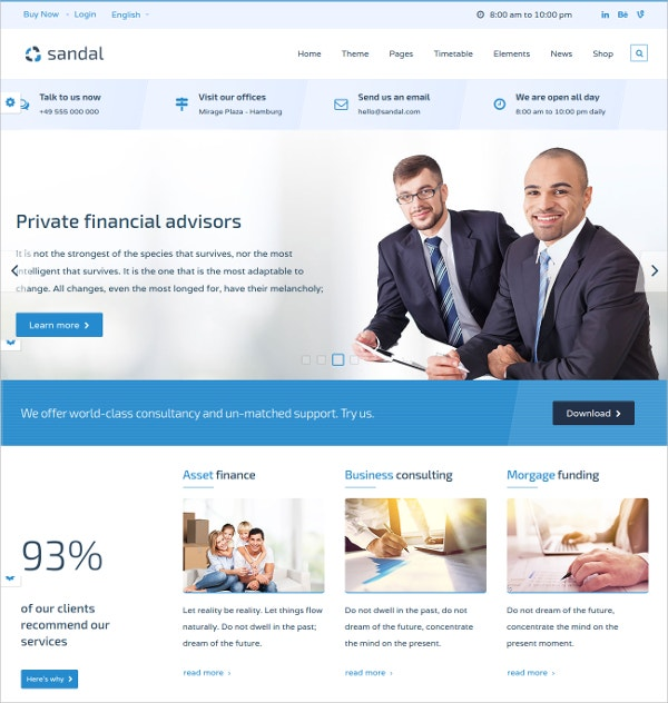 Finance & Consultancy HTML5 Website Theme $16