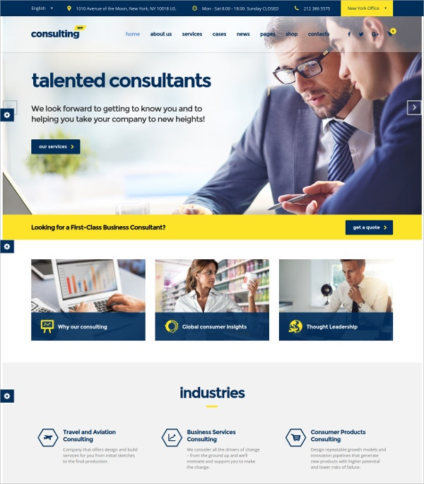 Consulting WordPress Website Theme For Insurance $59