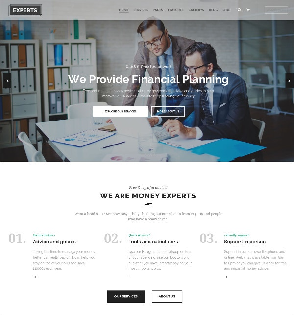 Professional Consulting Theme for Finance Firms $59