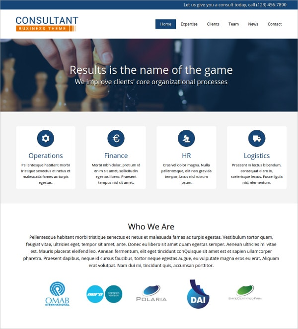 Consulting Services WordPress Website Theme $75