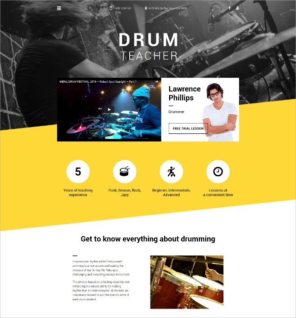 Music Instrument Drum Teacher Website Template $69