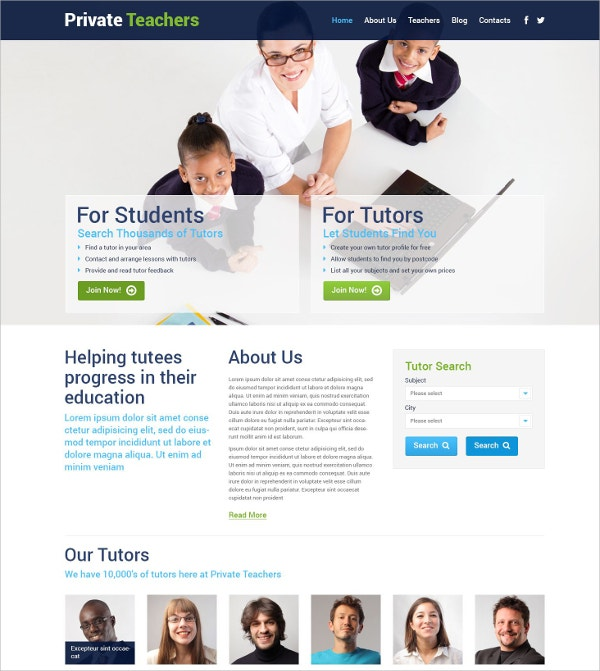 Teachers & Tutors WordPress Website Theme for Students $75