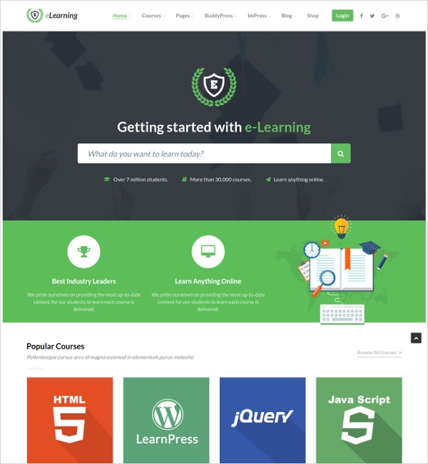 Learning Education Teacher WordPress Website Theme $59