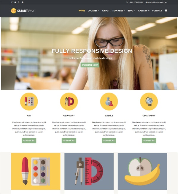 Management Courses Teacher Website Template $48