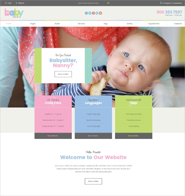 Babysitter Preschool Teacher Education Website Theme $12