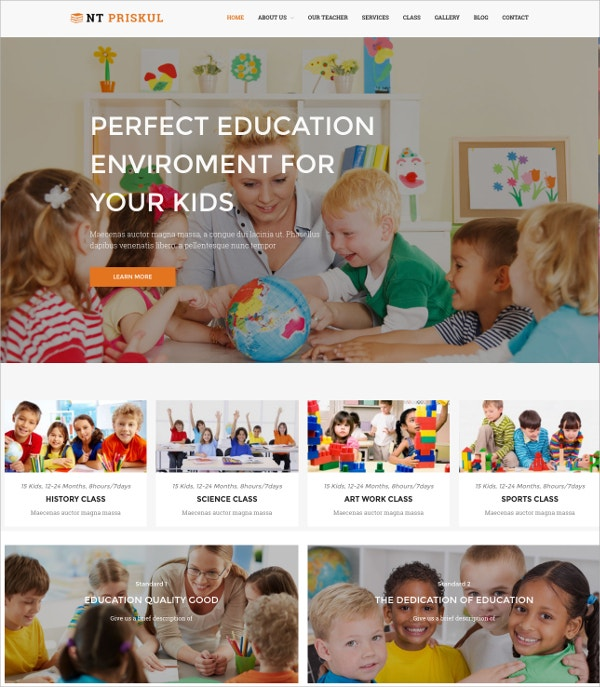 Kindergarten Teacher Website Theme $19