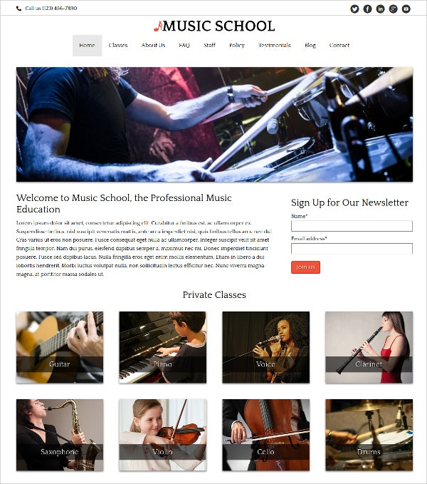Music School Teacher WP Website Theme $75