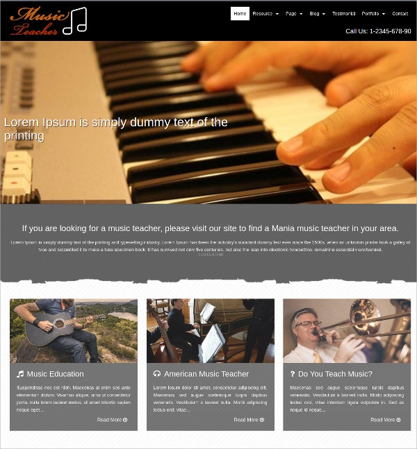 Premium WP Website Theme for Music School Teacher $17