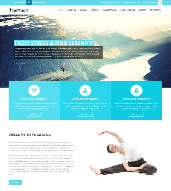 Responsive Yoga WP Website Theme $48