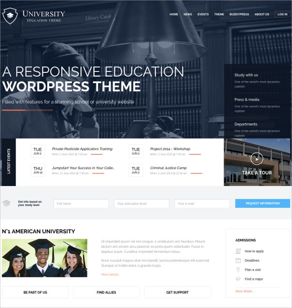 University Teacher WP Website Theme $39