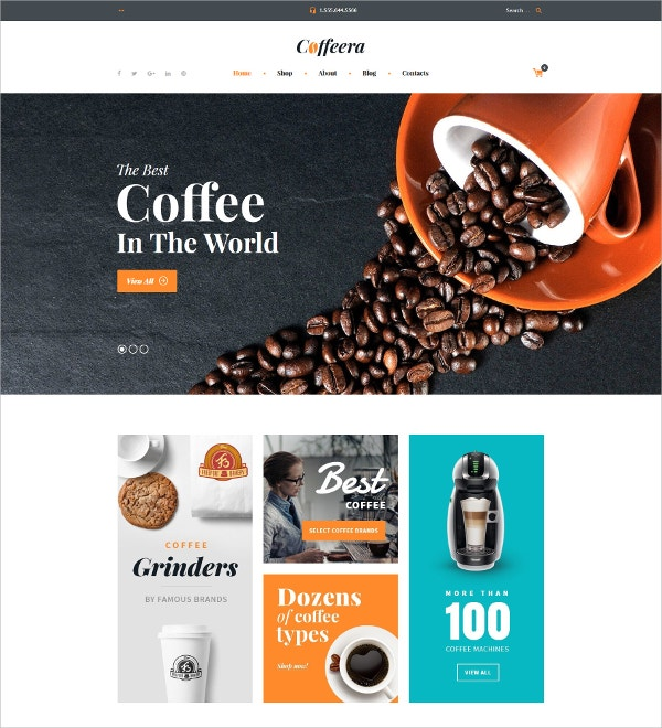 Best Coffee Shop WooCommerce Website Theme $114