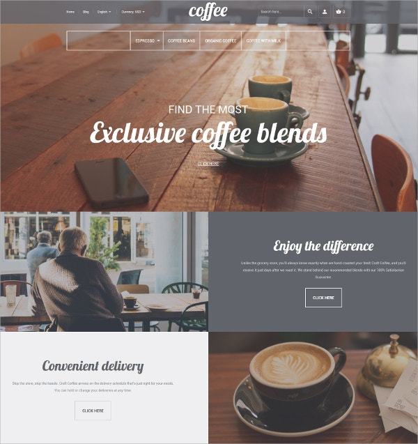 Premium Coffee Shop Magento Website Theme $179