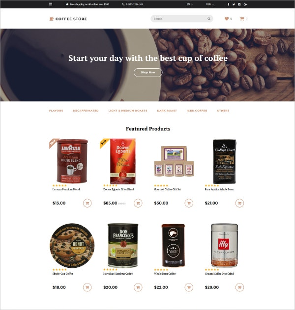 Delicious Coffee Store OpenCart Website Template $89