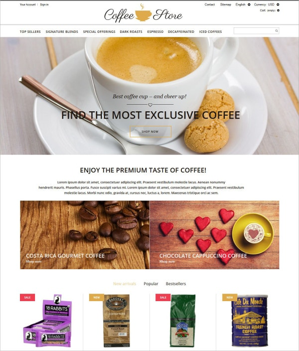special coffee shop prestashop website theme 139