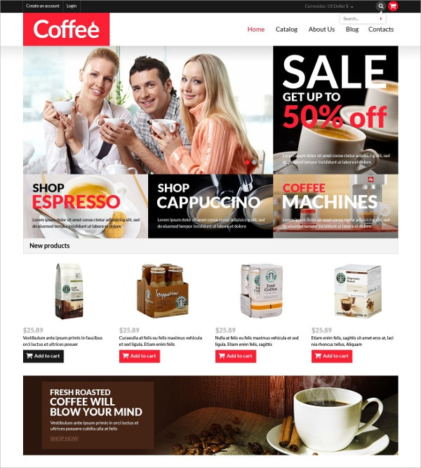 Coffee Machine Shop VirtueMart Website Template $139