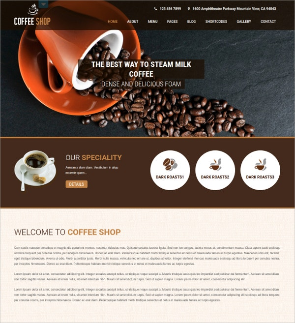 Restaurant, Coffee & Bakery Shop WP Website Theme $48