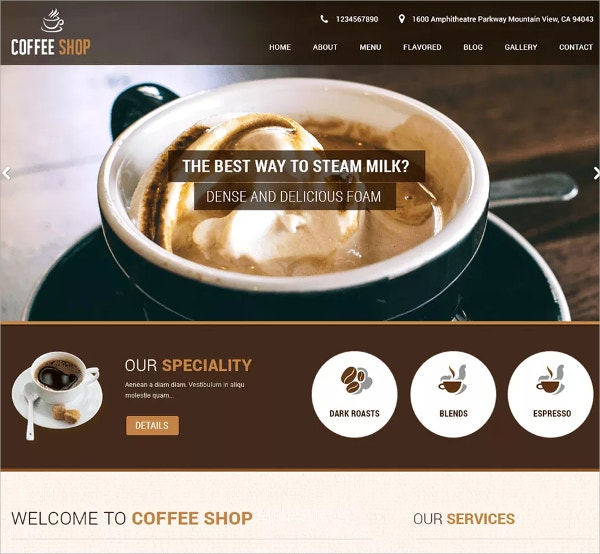 12 coffee shop website themes templates free. Black Bedroom Furniture Sets. Home Design Ideas