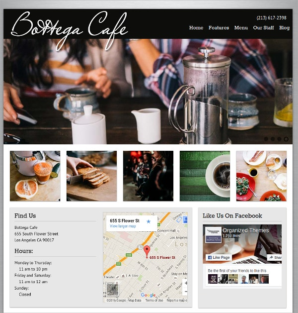 Website Theme for Coffee Shop & Restaurant $59