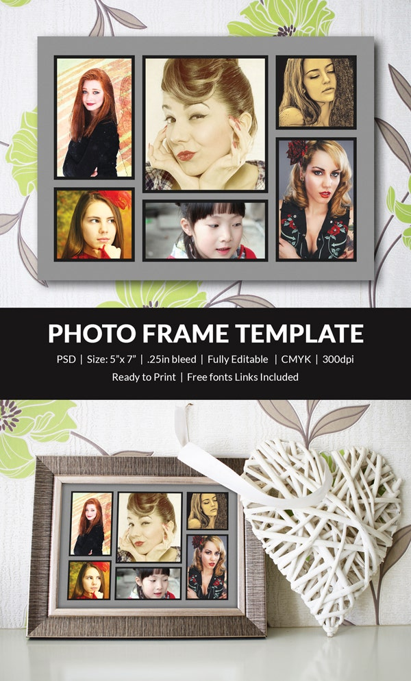 Photo Frame Template - 35+ Free Printable, JPG, PSD, ESI, Indesign ...