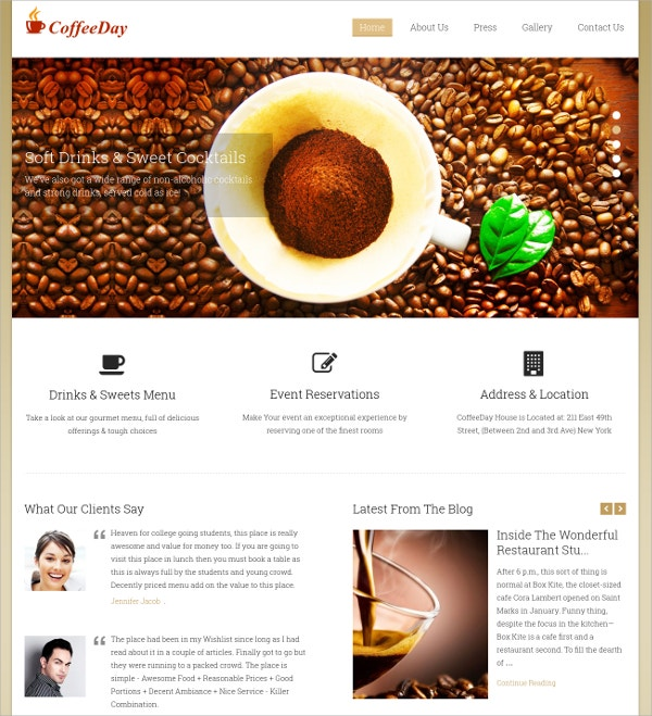 Coffee Shop Business WP Website Theme $79