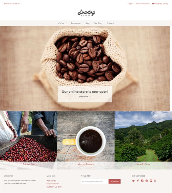 Coffee Beans Shop Website Theme $160