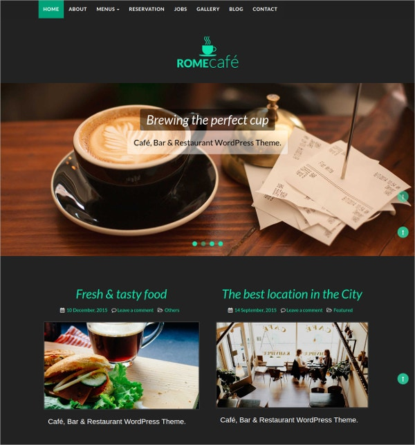 Coffee Shop, Restaurant WordPress Website Theme $59