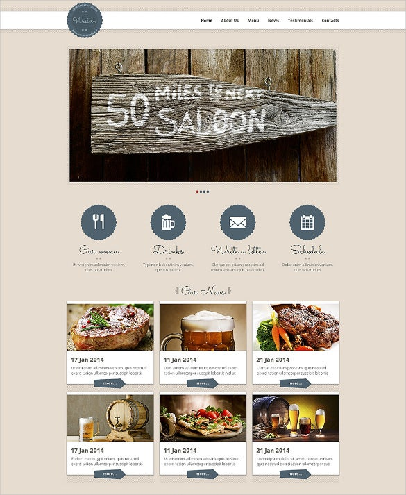 cafe restaurant responsive html5 website template