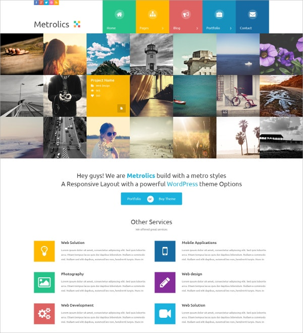 Business Portfolio Metro Sytle PSD Website Template $10
