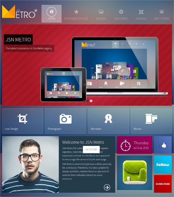 Joomla Website Creative Metro Style Theme $59