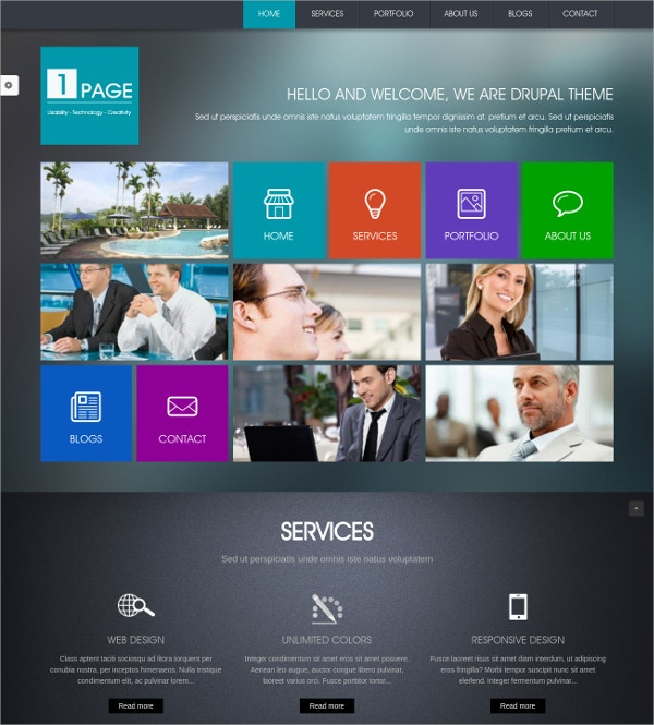 Metro Style OnePage Website Theme $49